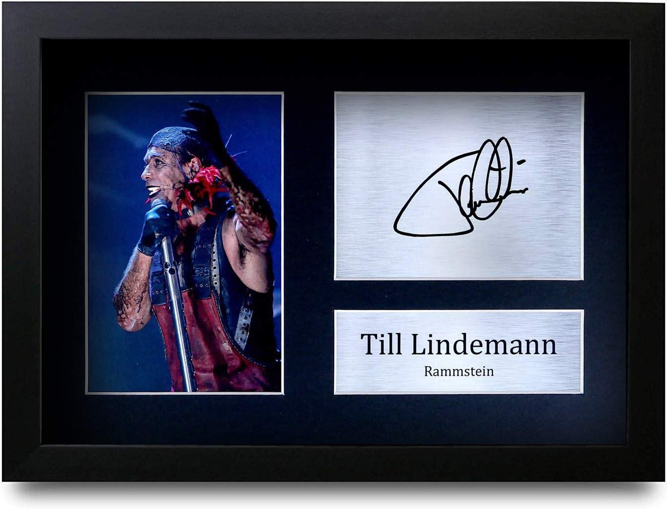 Till Lindemann A4 A4 Framed signiertes Autogramm f/ür Fans von Musik-Andenken HWC Trading Till Lindemann Rammstein Geschenke