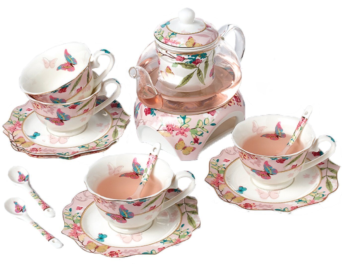 Floris 桜と蝶のかわいい ティーポット&ティーカップ セット 580ml 170ml B078VJW4VK