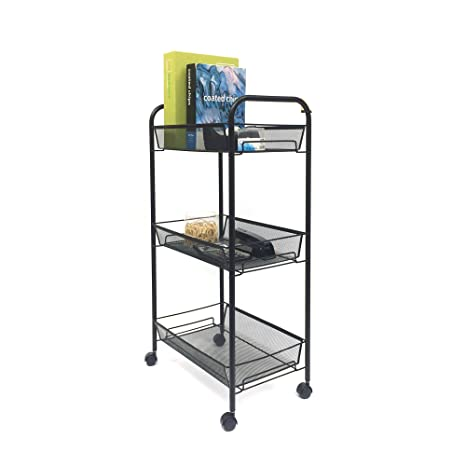 Mind Reader 3 Tier All Purpose Rolling Utility Cart, Books, Desk Supples,