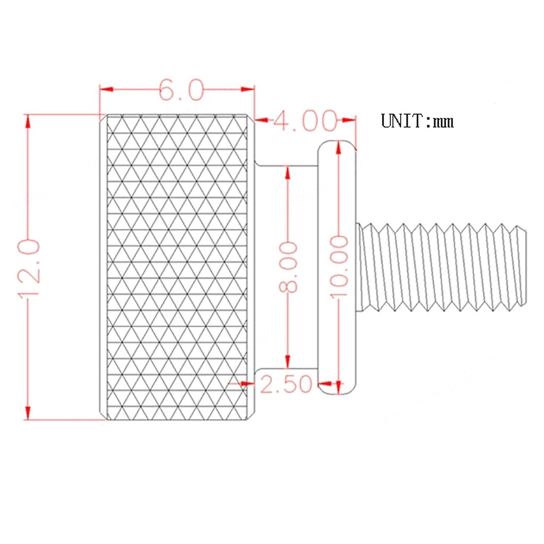 M3 x 7 mm Aluminiumlegierung R/ändelschrauben Weinrot 4 St/ück