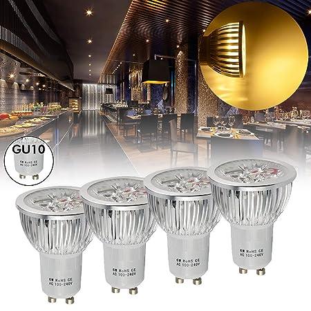 1 UNID GU10 100-240V 4LED 6W=50W Bombillas LED Proyector Cálido ...