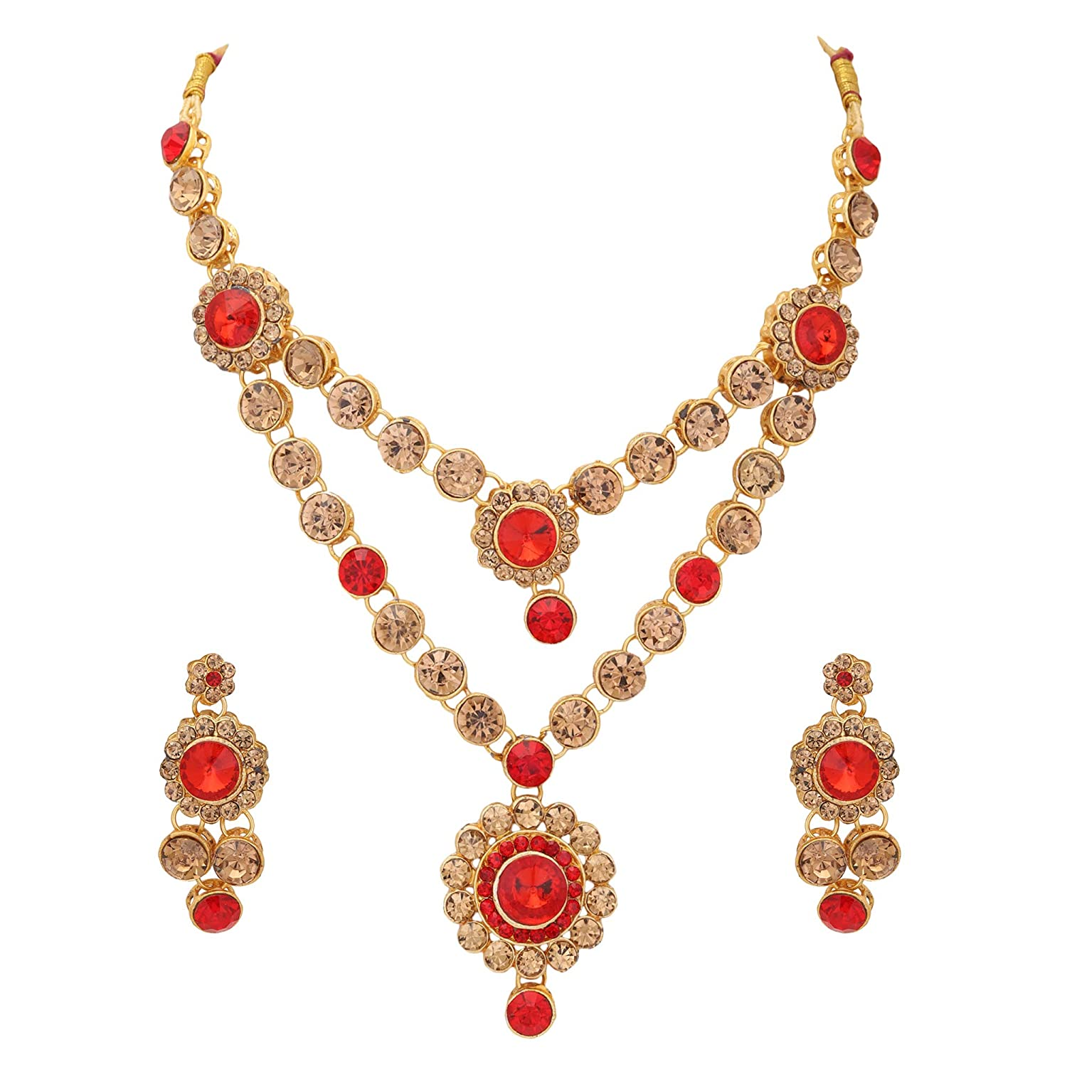 Buy Ziku Jewelry Ethnic Layered Beauty Necklace Charm Earring