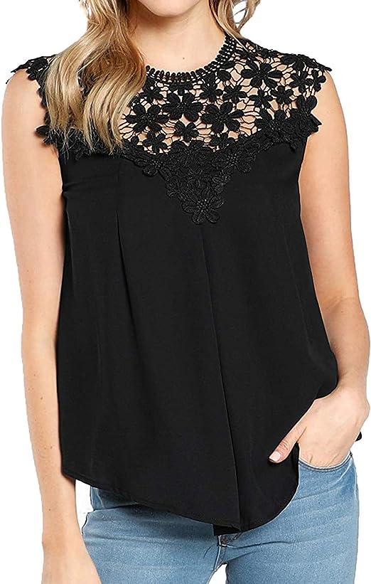 REVIEW Blusenshirt mit transparenter Häkelspitze Damen Größe S