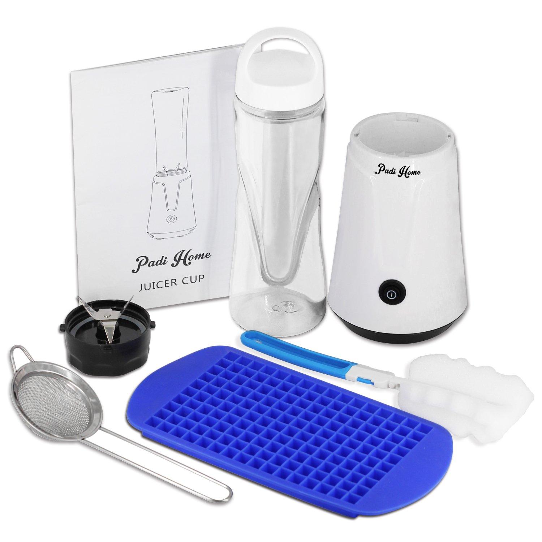 Padi Home Mini Blender, Smoothies Mixeur, Bouteille de Tritan 600mL Sans BPA, Moteur Puissant et 4 Lames en acier inoxydable, pour Milk-shake, Smoothies et Jus de Fruits et Legumes, 300W