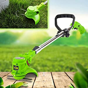 SFSGH 12V Garden Lawn Strimmer with 2Battery, Sustainable Use 35-45min, Quick Charging Brushcutter, Adjustable Motor Head, Green
