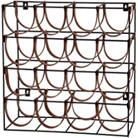 ACADEMY Orwell 16 Bottles Iron & Leather Wine Rack Orwell 16 Bottles Iron & Leather Wine Rack, Black/Brown, ACA0229