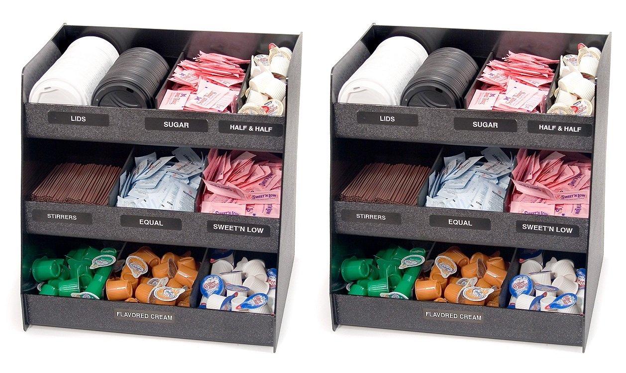 Vertiflex Vertical 3-Shelf Condiment Organizer, 9 Compartments, 14.5 x 11.75 x 15 Inches, Black (VFC-1515) (3 PACK)