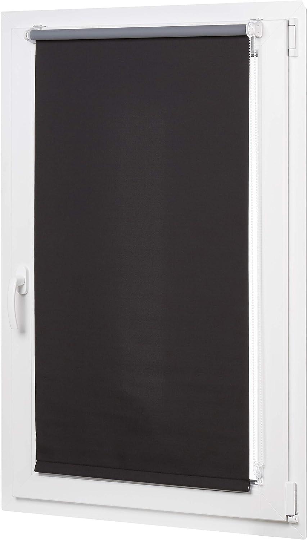 AmazonBasics - Estor opaco y enrollable, con revestimiento de color a juego, 56 x 150 cm, Negro