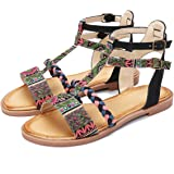 gracosy Flat Sandals for Women, Summer Sandals Gladiator Dress Sandals Ankle Slippers Woven Straps Flip Flop Thong…