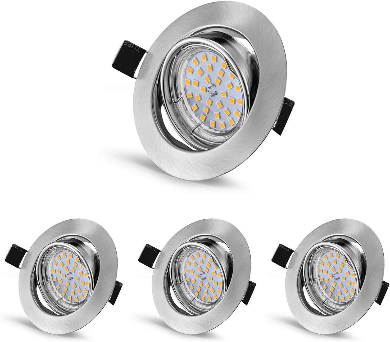 LED Decken-Einbaustrahler DEX chrom matt schwenkbar GU10 4,5W 340lm warm-weiß ru