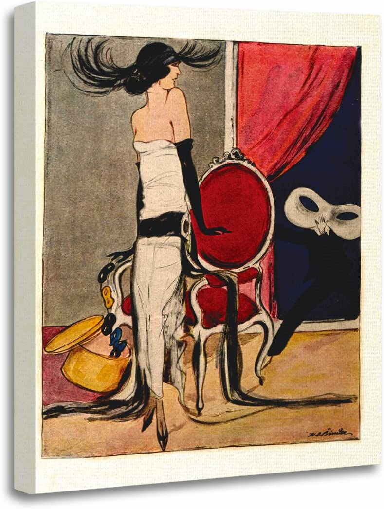 """TORASS Canvas Wall Art Print Jazz 1920S Flapper Girl Age 1900S Vintage Roaring Artwork for Home Decor 16"""" x 20"""""""