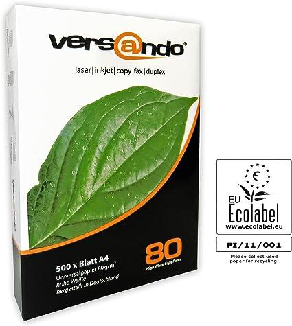 Versando - Paquete de 500 hojas, 80 DIN A4 color blanco, papel universal de 80 g/m² para imprimir/fotocopiar: Amazon.es: Oficina y papelería