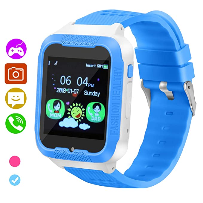 Kids Smart Watch Game Smart Watch for SmartWatches 1.44 Touch Screen Boys and Girls Birthday Gifts with Camera Kids Smartwatch (Blue)