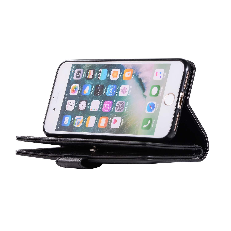 Felfy 9 Kartenf/ächer Kompatibel mit iPhone 7 Plus H/ülle,iPhone 8 Plus Case Leder Glitzer Rose Gold Magnetische Flip Case Handyh/ülle Premium PU Leder Luxus Tasche Klapph/ülle Handschlaufe Brieftasche