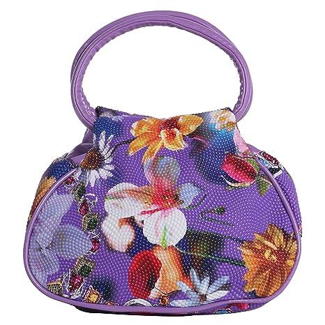 ZXKEE Bolsos de mujer PU Cuero manijas Flores Púrpura Perla Diseño embrague Carteras de mano