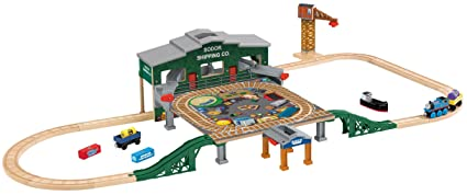 Fisher Price Thomas Friends Wooden Railway Series Brendam Bay Shipping Co Set