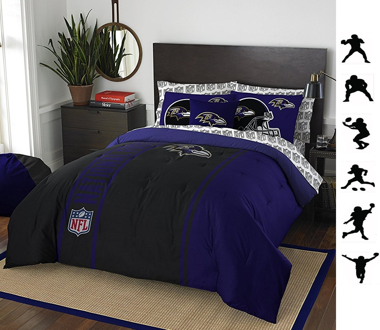 NFL BALTIMORE RAVENS 7pc Full Size Comforter, Pillow Shams & Sheet Set + WALL DECALS
