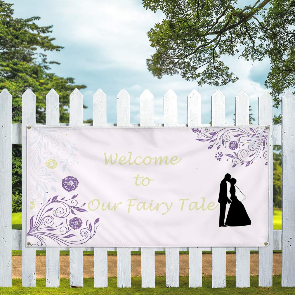 4 Grommets 24inx60in Vinyl Banner Sign Welcome to Our Fairy Tale White Lifestyle Marketing Advertising White Set of 3 Multiple Sizes Available