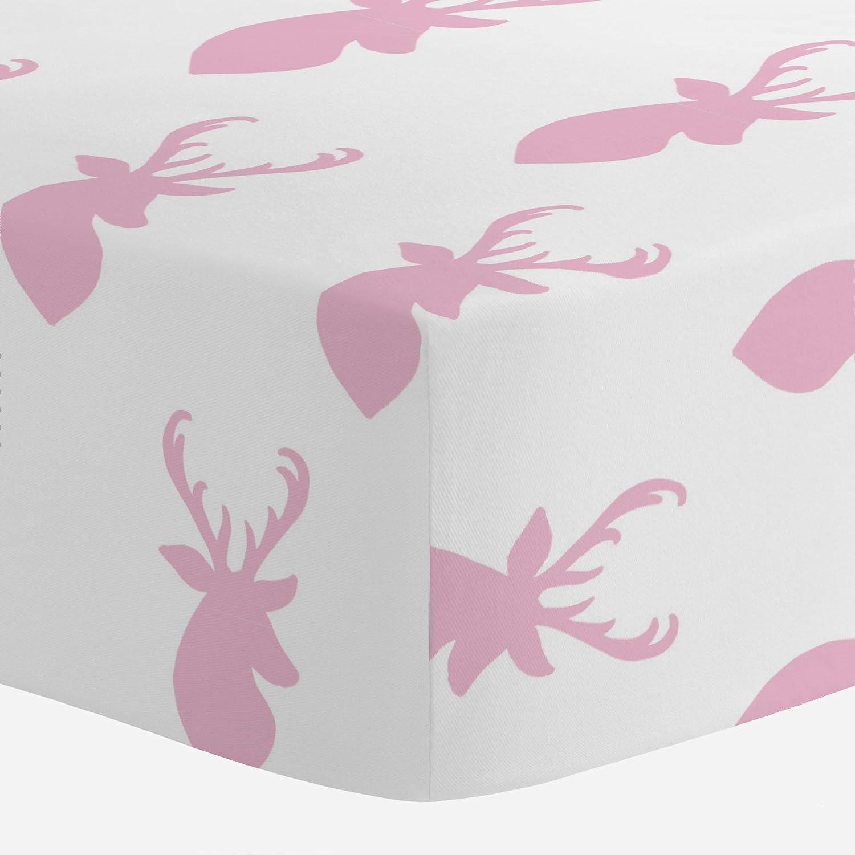 Carousel Designs Bubblegum Pink Deer Head Crib Sheet by Carousel Designs   B01DKQA44W