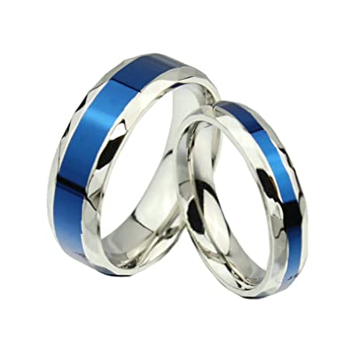 972ee6af79 Amazon.com: Daesar Love Ring Silver Blue Stainless Steel Ring for Women Men  1 Pair Rings 4MM Women Size 5 & Men Size 10: Jewelry