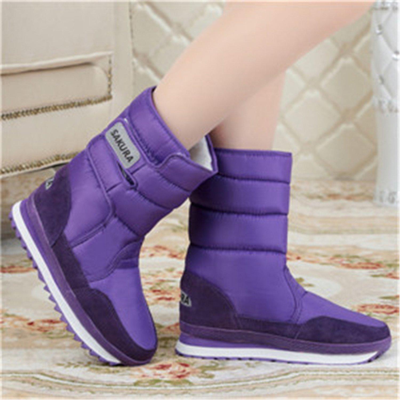 Baqijian Women Snow Boots Winter Flats Solid Women Boots 10 Colors EUR Size 35-44 Y796