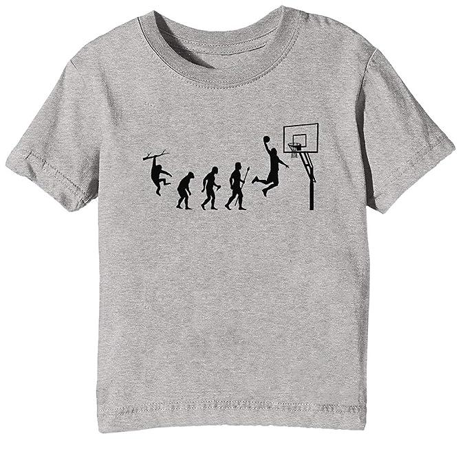 Baloncesto Evolución Niños Unisexo Niño Niña Camiseta Cuello Redondo Gris Manga Corta Tamaño XS Mens Grey