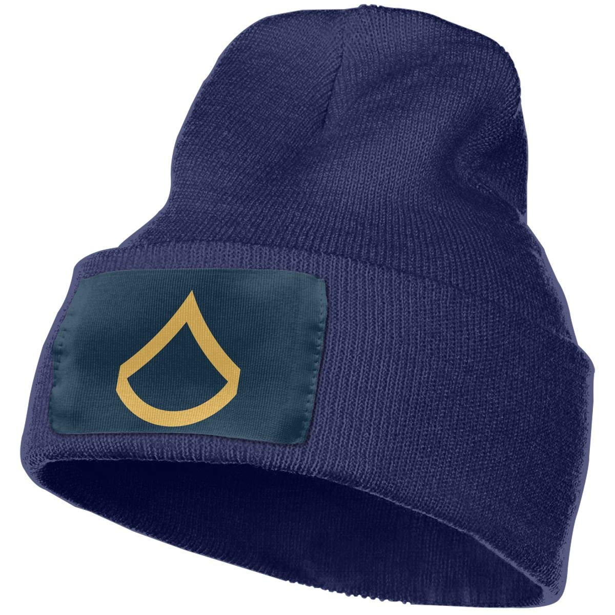 Army Private First Class E-3 Rank Insignia Men/&Women Warm Winter Knit Plain Beanie Hat Skull Cap Acrylic Knit Cuff Hat