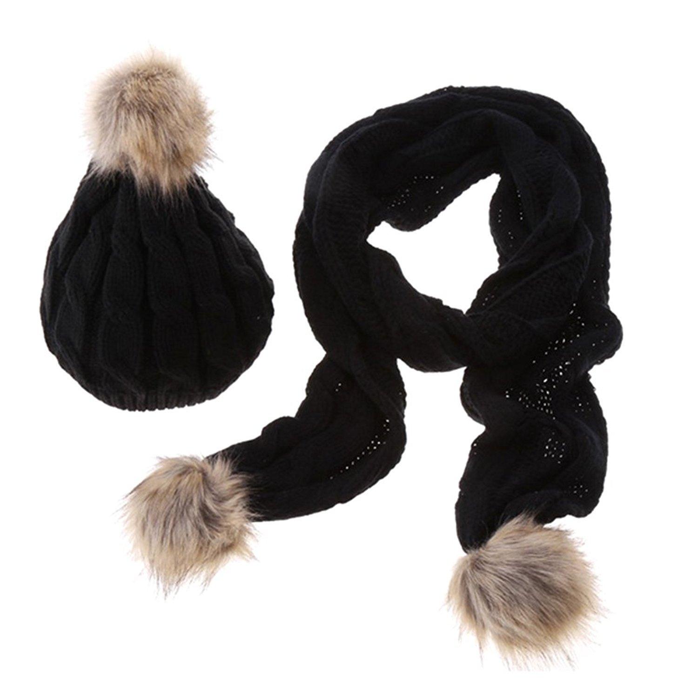 Ducomi/® Lux /& Co Luxury Designer Combinazione Sciarpa e Cappello in Morbida Lana con Pom Pom Grey