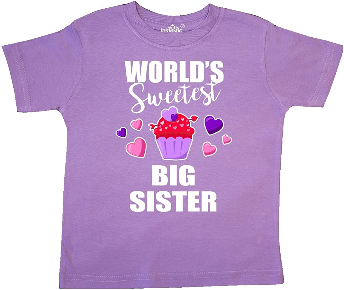 inktastic Worlds Sweetest Big Sister with Cupcake Toddler T-Shirt
