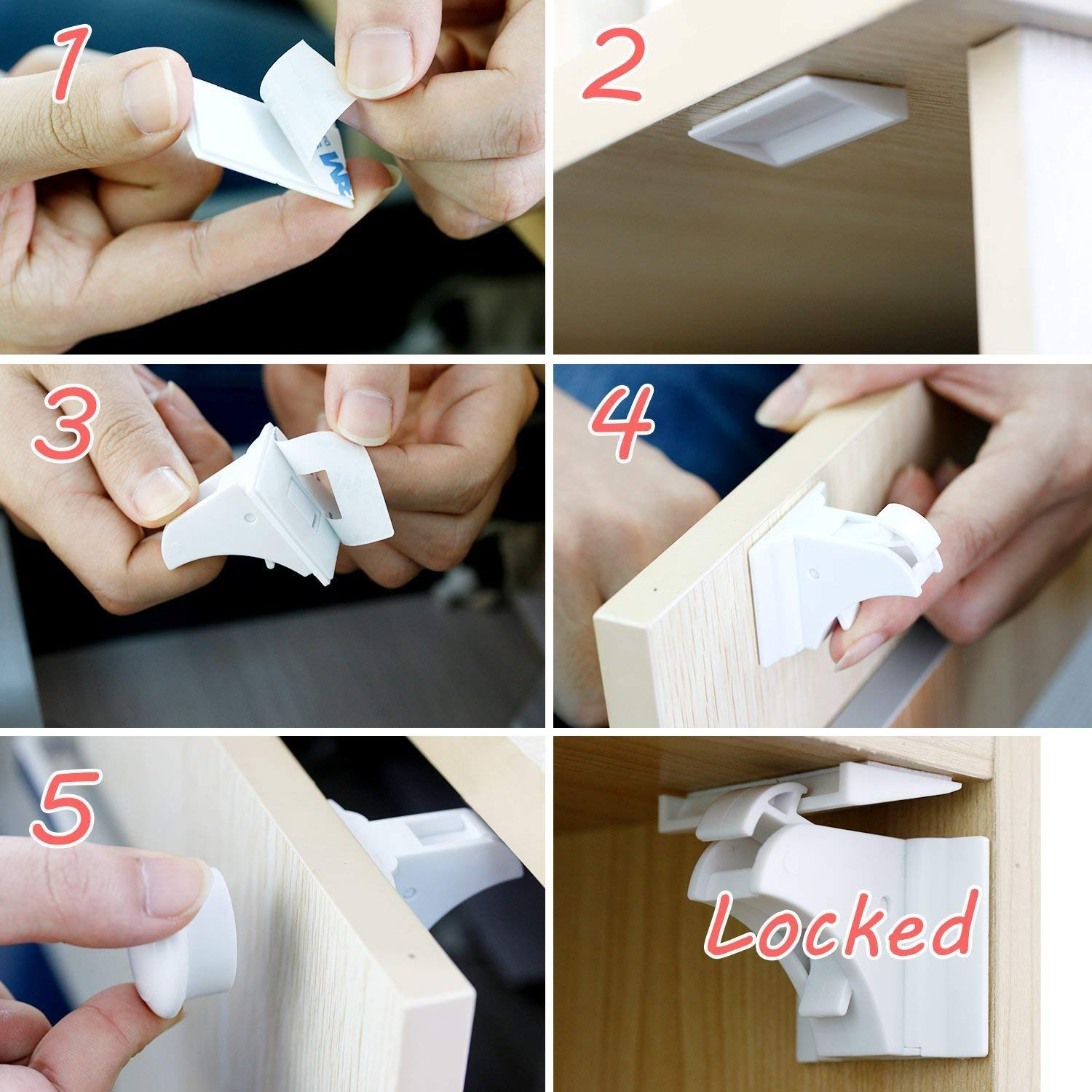 TOOLIC Magnetic Child Safety Locks Kits for Cabinet Drawer Cupboard Door Baby Proof Invisible No Drilling Design (3 Keys & 20 Locks) by TOOLIC (Image #3)