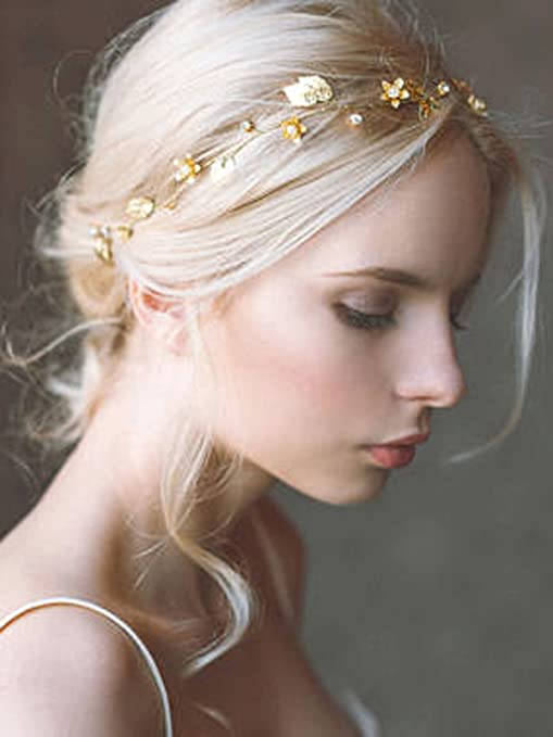 Yean Wedding Hair Vine Headband Gold Leaf Crown Tiara Accessories for Bride  and Bridesmaid  Amazon.in  Beauty bd1a4c5d70d