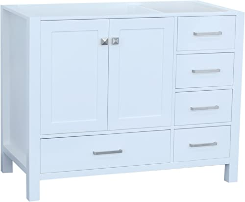 ARIEL Cambridge A043S-L-BC-WHT 42″ Inch Single Left Offset Solid Wood White Bathroom Vanity Base Cabinet