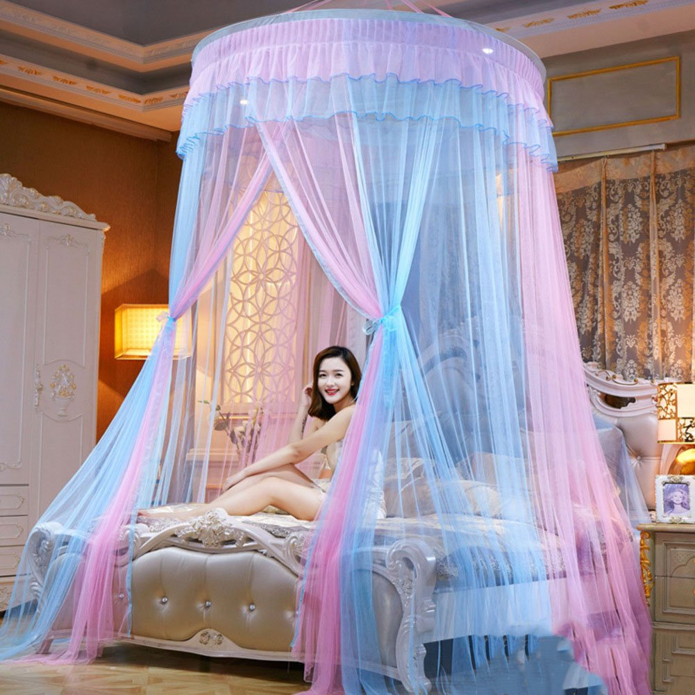 HUEHFUEGF Round dome bed canopies mosquito net,Princess bed canopy extra large for twin Queen and king size bed-C Queen2
