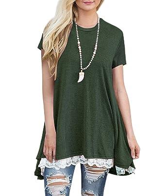 8c3fcfa8964 Angerella Womens Cute Short Sleeve A Line Loose Summer Tunic Tops Army  Green,S