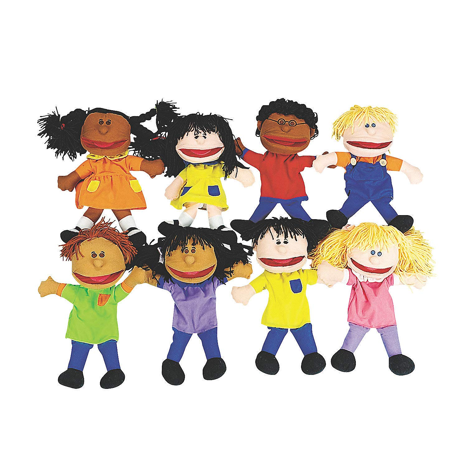Happy Kids Hand Puppets Multi Ethnic and Diversity Collection (Set of 8 for kids) Great for Daycare and Classrooms