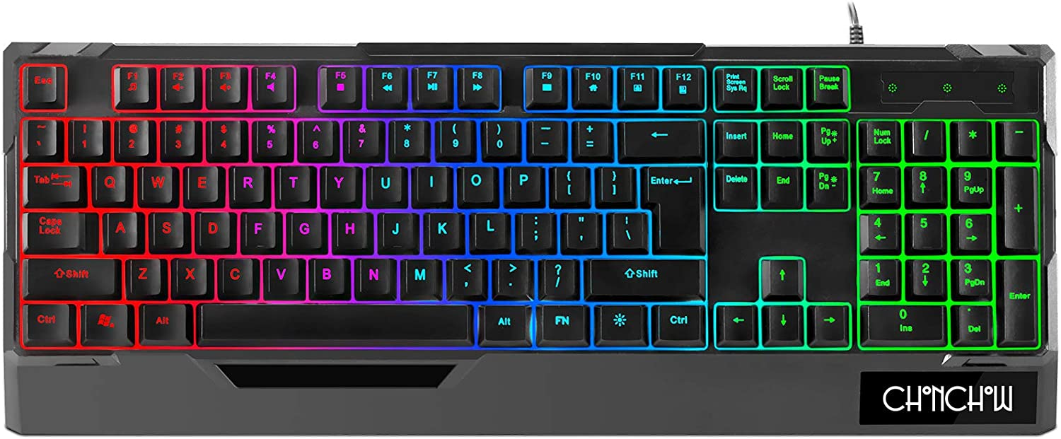LED Gaming Keyboard, CHONCHOW USB Wired Rainbow Backlit Gaming Keyboard Quiet 104 Keys Compact Membrane Gaming Keyboard for Laptop Ps4 Xbox PC Computer Game and Work