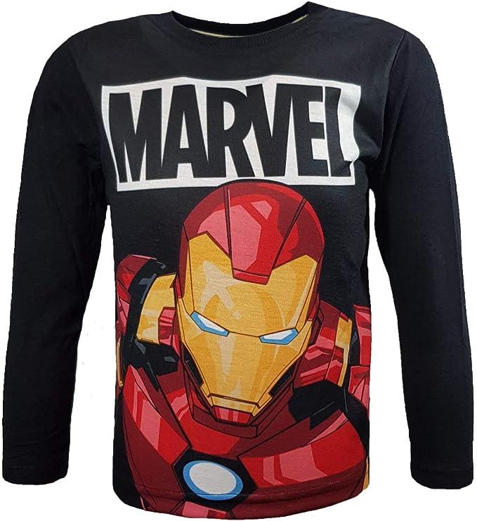 Marvel - Camiseta de manga larga - para niño Negro Negro (110 cm: Amazon.es: Ropa y accesorios
