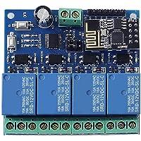 Gfhrisyty ESP8266 12V 4 Channel Relay Board ESP-01 WIFI Module for Home 4 Channel WIFI Relay Module