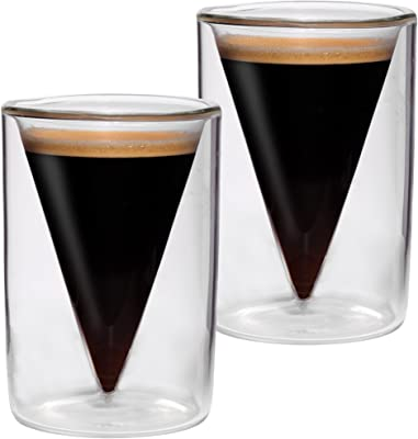 2x Doppelwandige Espresso- Gläser im Spitzglasdesign mit Schwebe-Effekt + 2x Spitzlöffel von Feelino