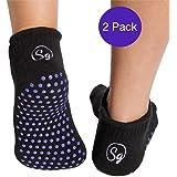 Sock Grippers Non Slip Grip Socks for Hospital Rehabilitation Nursing Home Chemo Physio and Elderley. Luxury Bamboo Slipper Socks. Prevent Falls with Safety Gripper Socks (2pack)