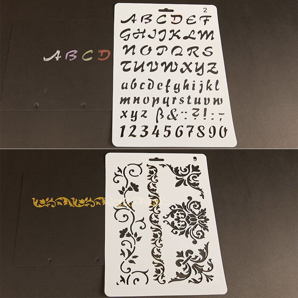 Set de Pinceles y Plantillas, Pintura Brochas y Stencils Set para Artistas/Pintar/ Paredes/Muebles, Regalo para Niños, pack de 13: Amazon.es: Bricolaje y ...