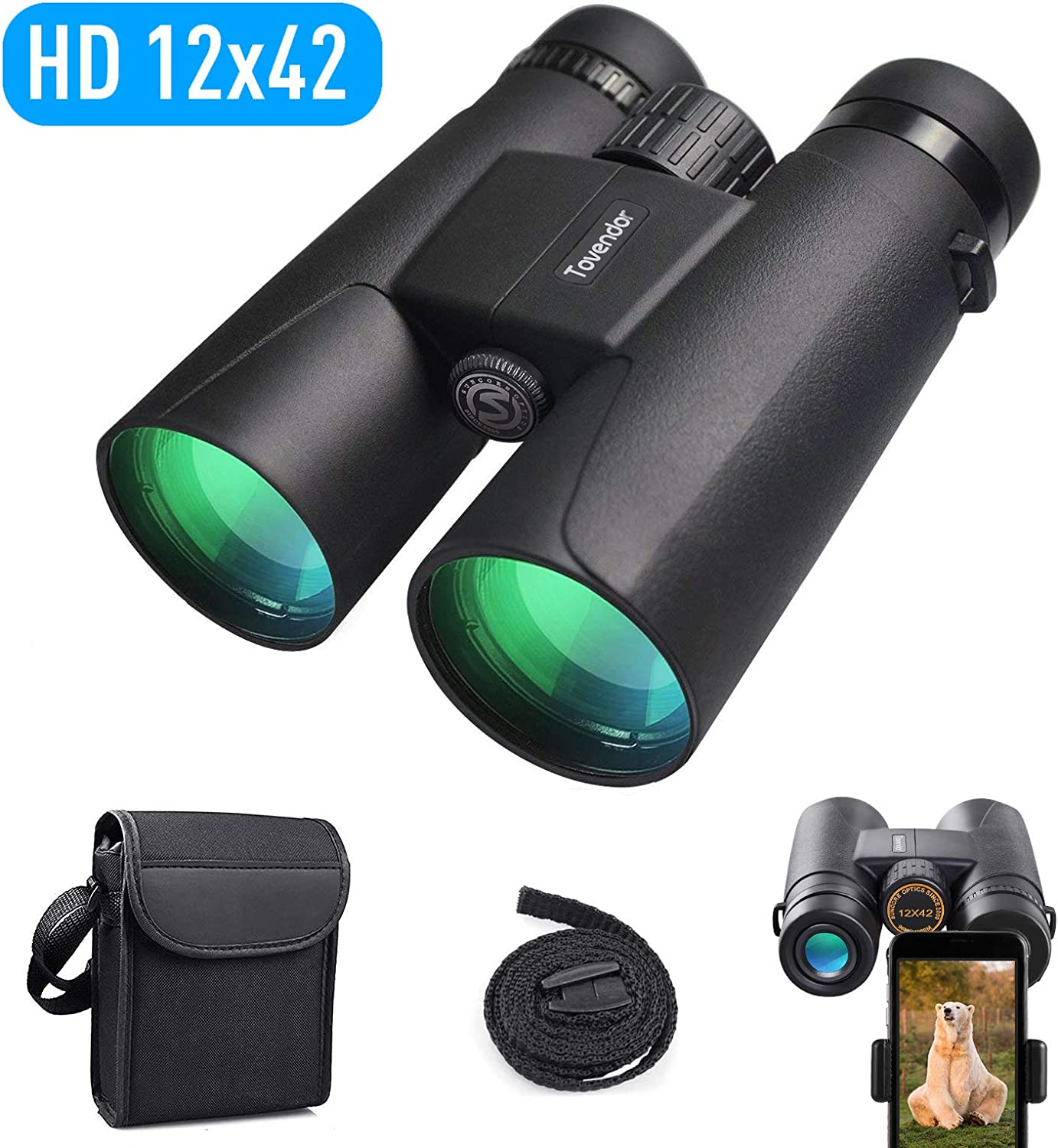 Tovendor Binoculars for Adults, 12×42 Compact Lightweight Long Distance Binocular for Bird Watching, Hunting, with Weak Light Night Vision, Phone Mount