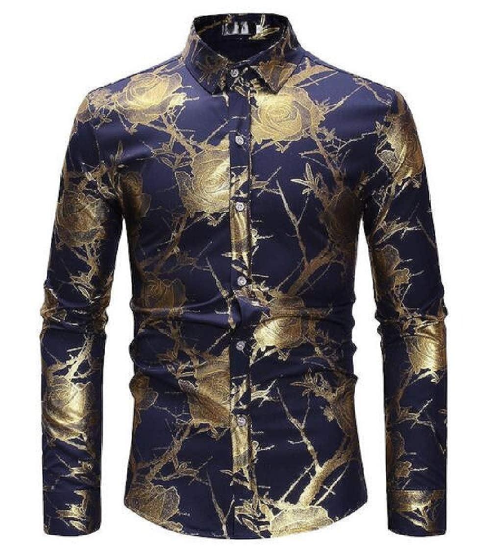 BU2H Men Floral Print Casual Long Sleeve Trim-Fit Button up Dress Shirts