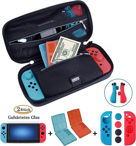 ANGPO® 【Kit de la Caja Nintendo Switch】 Nintendo Switch, Estuche y Accesorios /Protector de Pantalla/Joy-con Set de Protección/Set Game Card Storage 4en1: Amazon.es: Electrónica