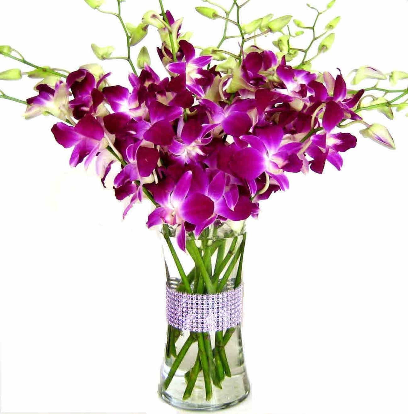 Happy Mother's Day! Purple Dendrobium Orchids with Vase w/ Rhinestone Mesh Ribbon by University Gifts (US Company)