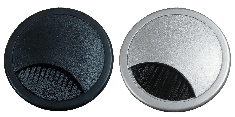 2'' Plastic Brush Desk Grommet - Black (10 Pack)