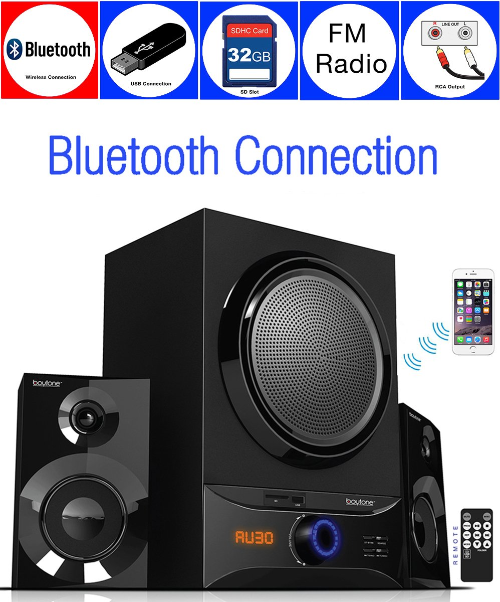 Boytone BT-209FD Wireless Bluetooth Main unit, Powerful Sound & Bass, 30 watt, excellent clear sound & FM radio, Remote control Aux Port, USB/SD/for Smartphone's, Tablets, Computers, Home Theater by Boytone
