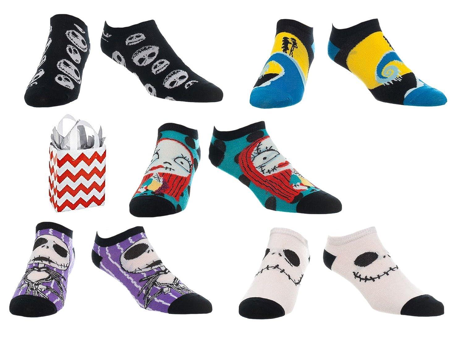 Nightmare Before Christmas Adult No Show Ankle Socks & Bag Multi ...
