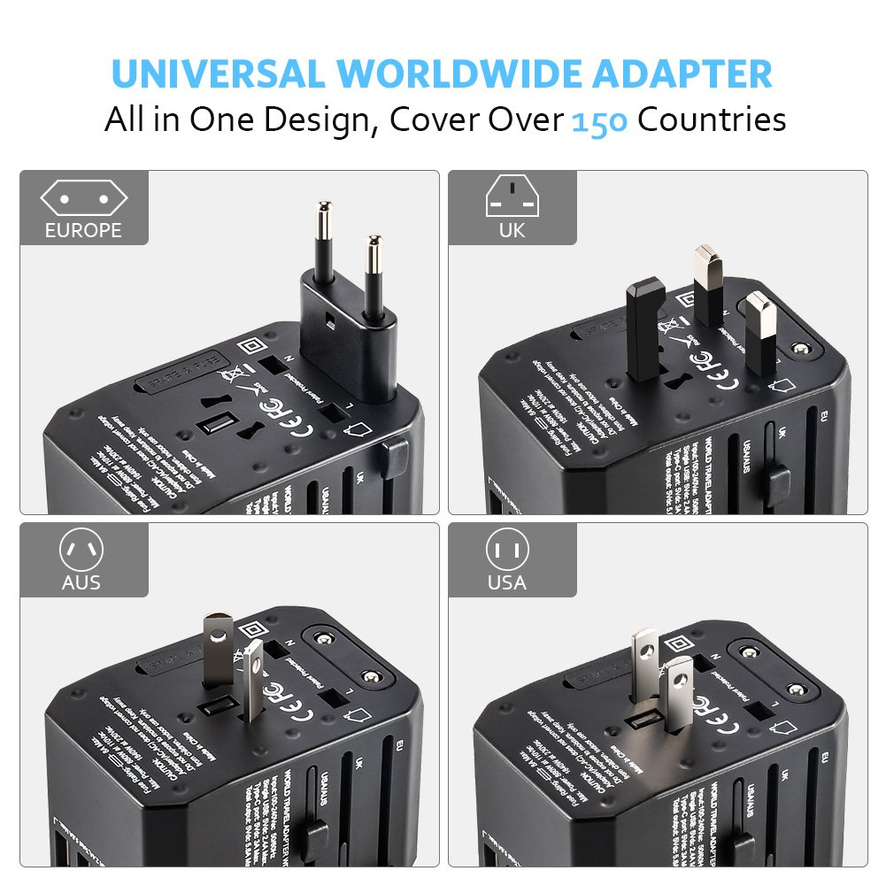 [Upgraded] Universal Travel Power Adapter,Delicacy Worldwide All in One Adapter with Fast Charging 4 USB and Type C Ports,International Wall Charger AC Plug for US EU UK AUS Cell Phone Tablet Laptop by Delicacy (Image #2)