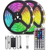 LED Strips RGB 10m, AUELEK 2x5m LED Strips 12V 300 LED's LED Strip met Waterdichte IP65/ DIY Kleurmodi/Snijdbaar…